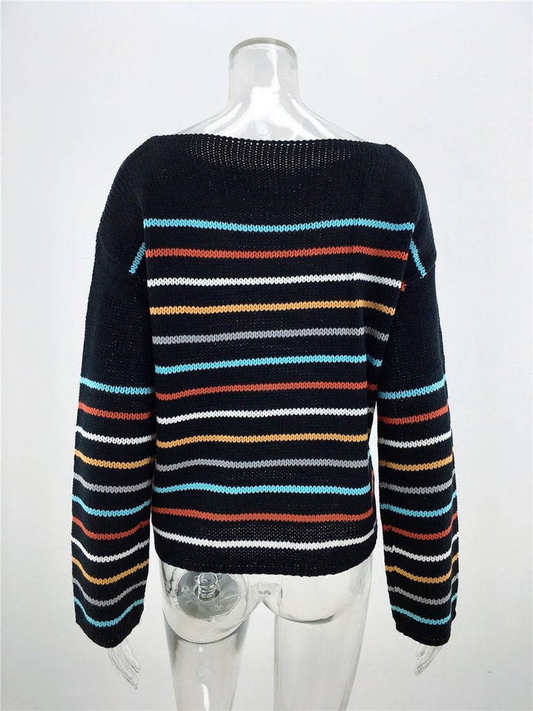 Bohemian Rainbow Striped Pullovers Sweaters