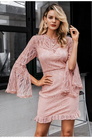 Sexy Transparent Lace High Waist Long Sleeve Sheath Elegant Midi Dress