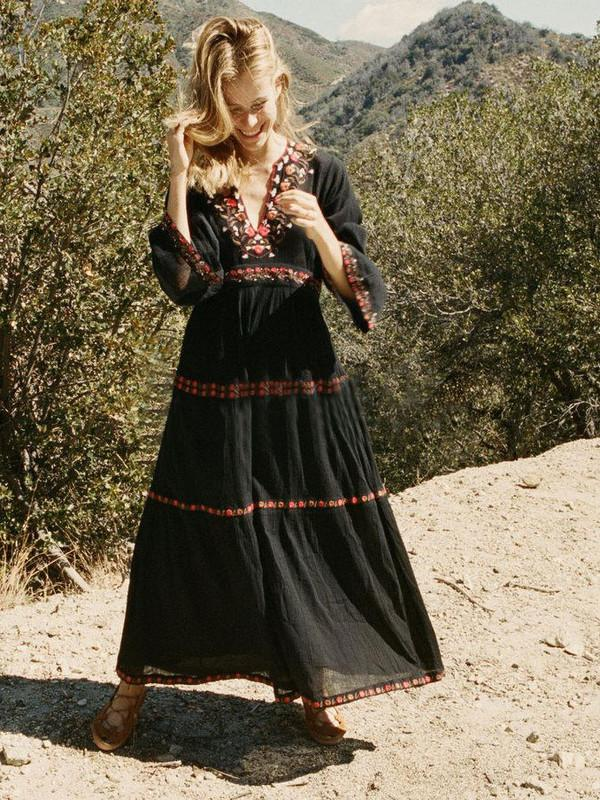 Floral Embroidered Long Sleeve High Waist Long Maxi Dress