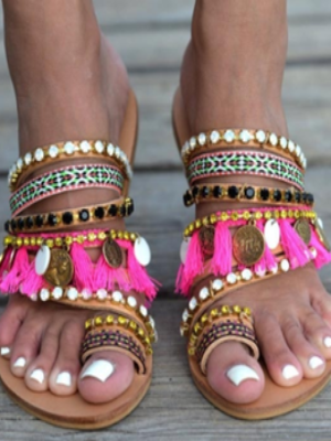 Bohemain Beach Holiday Tassels Flat Boho Sandals