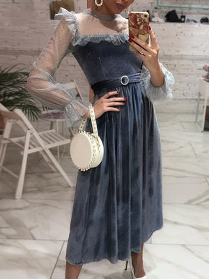 High Waist Ruffle Puff Sleeve Polka Dot A-line Belt Velvet Dress