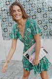 Bohemian Print short Maxi Green Dress BOHO Skirt