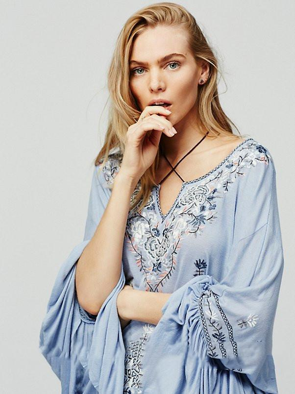 Bohemian Embroidered Peasant Top Blouse Shirt