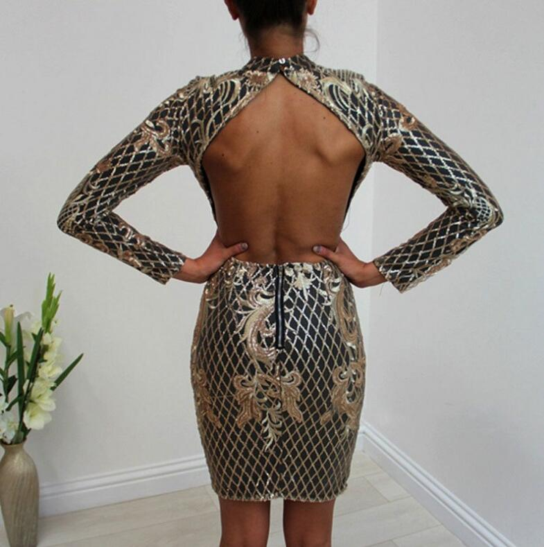 Sexy Backless Gold Sequin Elegant Floral Plaid Bodycon Dress