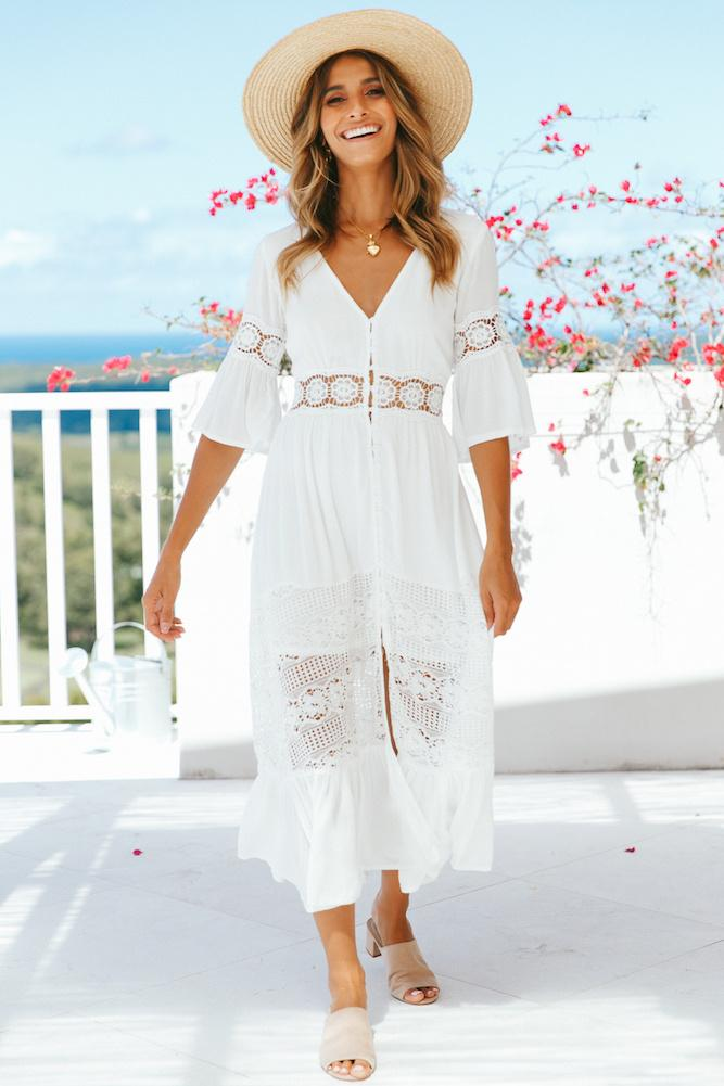 V-neck lace stitching white maxi vacation dress