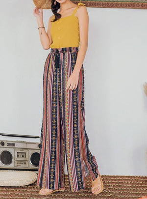 Vacation Style Wide-Leg Pants Bohemian Split Trousers