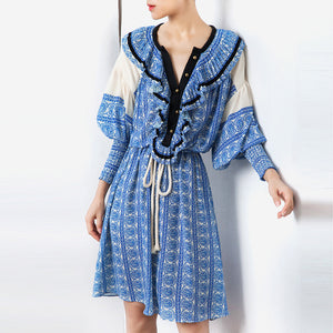 Women's Ruffled Drawstring Cotton Casual Print  Dress