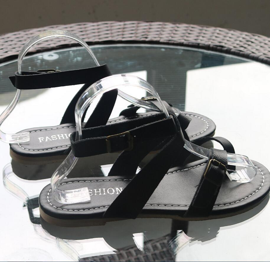 Beach Fashion Sandal Peep Toe Buckle Flat Shoes