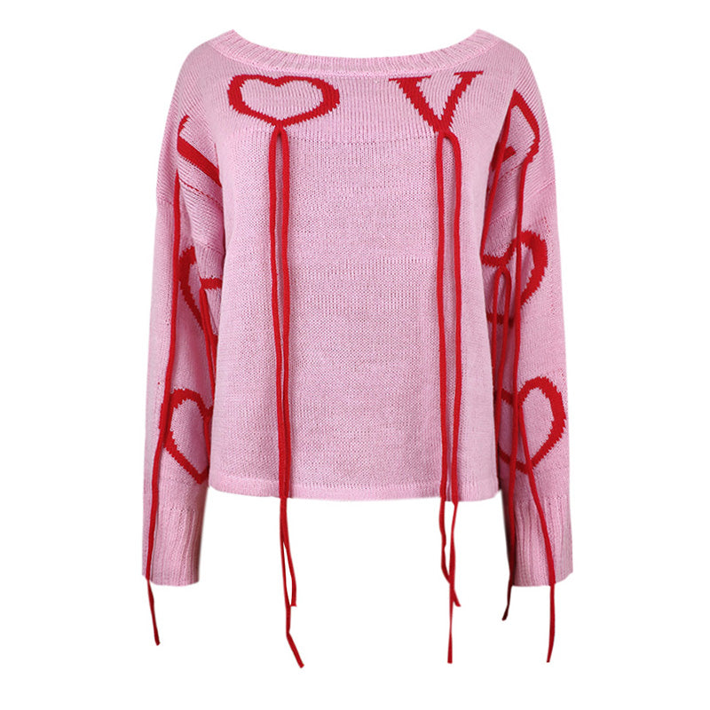 Tassels Knitted Pullover  LOVE Letters Heart Pattern Dropped Shoulder Sweater