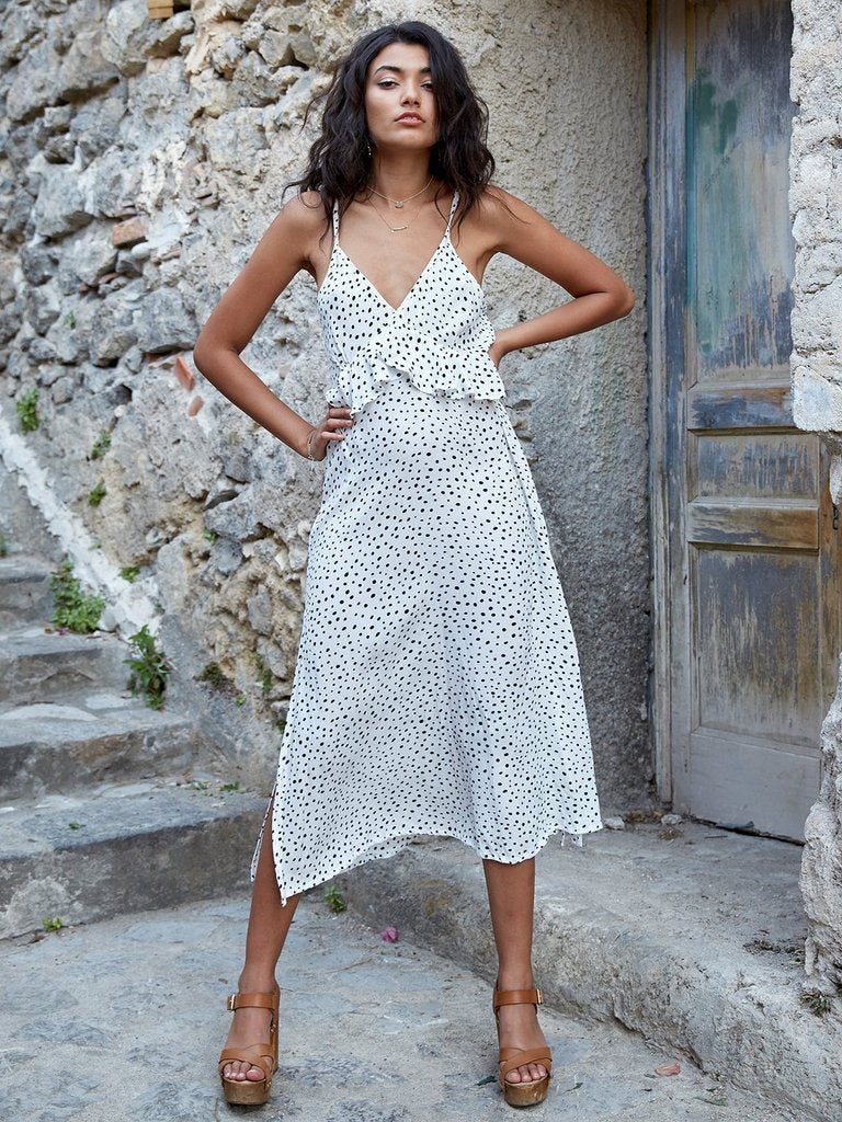 Bohemian Wave White Maxi Split dress