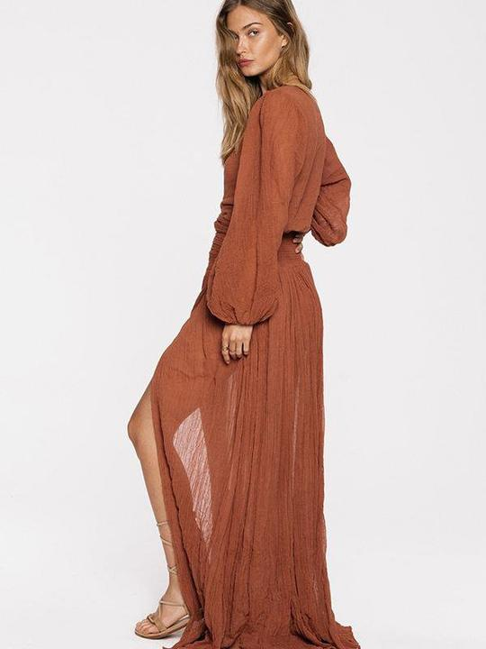 Bohemian Solid Color Sexy Dress