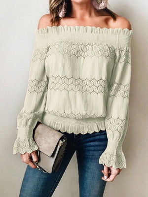 Sexy Off Shoulder Slash Neck Lace Hollow Long Sleeve Slim Casual Blouses