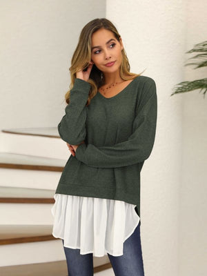 Knit V-neck Long Sleeve Fake Two-piece Top