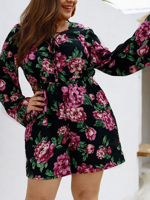 Flower Full Sleeve Floral Printed Women Bodysuits XL-4XL