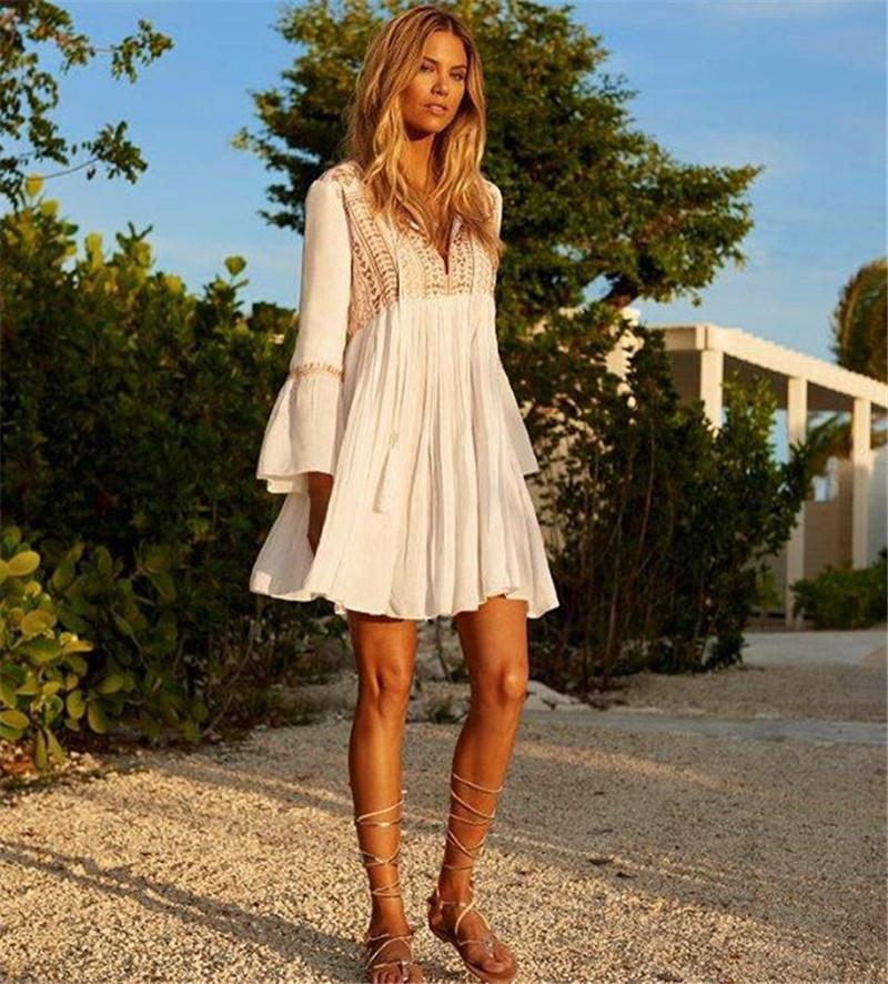 Boho Vacation Long Sleeves Mini Dress