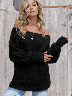 Off-the-shoulder Knitted Solid Loose Sweater