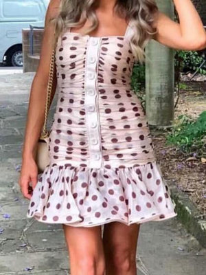 Pink  Polka Dot Print Button Boho Mini Dresses