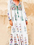 Bohemian Floral Embroidered Maxi Dress