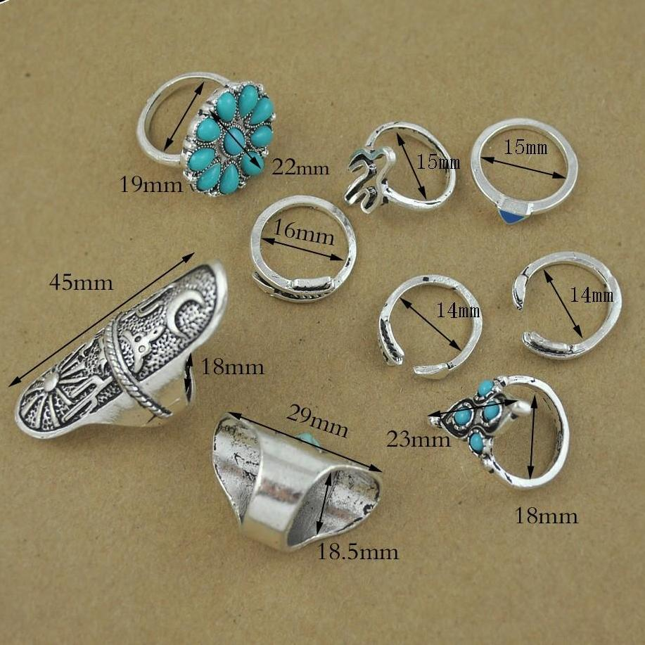 Bohemia Vintage Jewelry High-Quality Unique Design Ring Sets