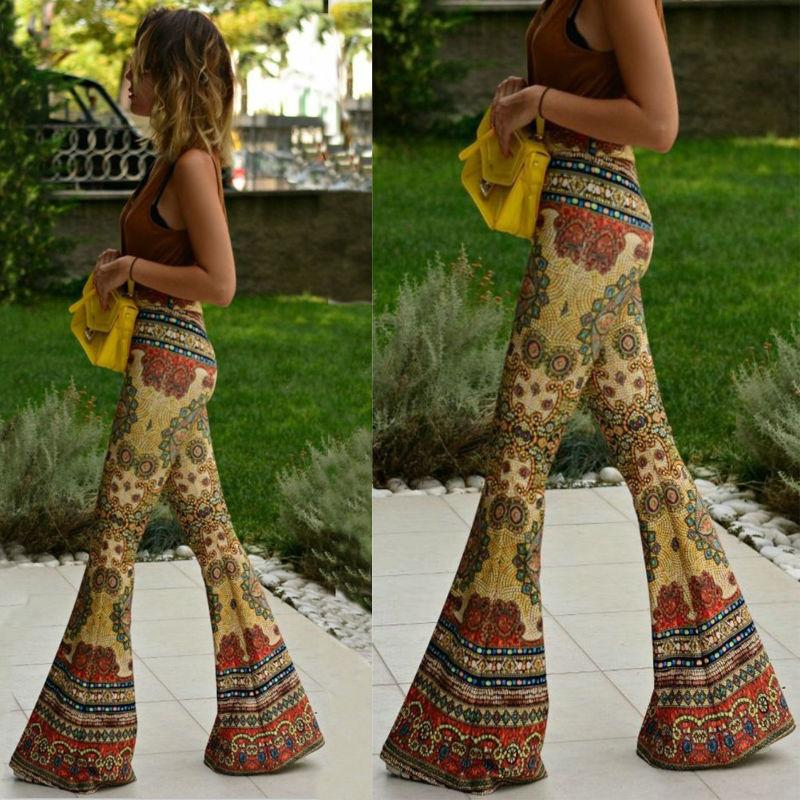 Fashion Vintage Floral Bell-bottoms Casual Boho Pants
