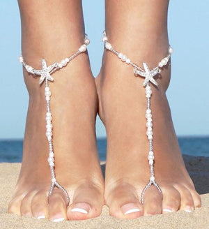 Beach Wedding Barefoot  Pearl Anklet Toe Ring Wrap Starfish Foot Chain Jewelry