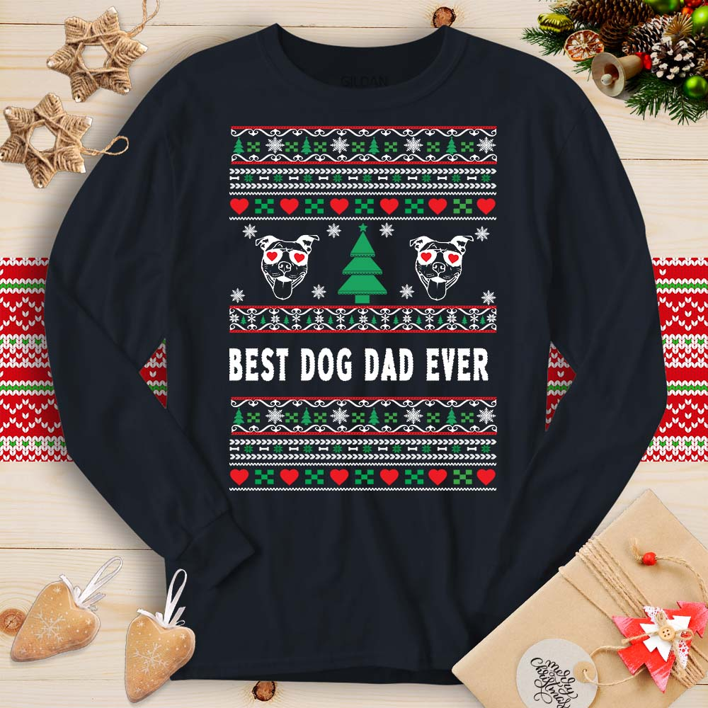 Best Dog Dad Ever - Pitbull (Long Sleeve T-Shirt)