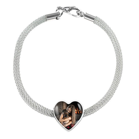 PERSONALIZED HEART CHARM - SUPREME STEEL BRACELET [upload your photo]