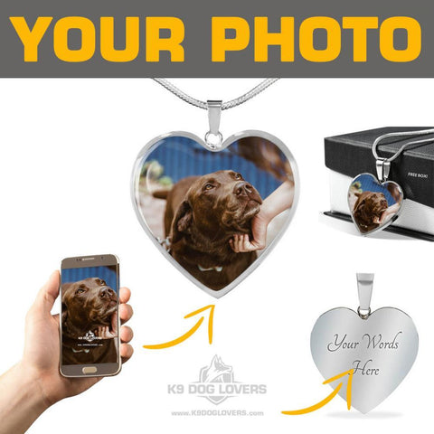 PERSONALIZED HEART - SILVER ADJUSTABLE SUPREME NECKLACE [upload your photo]