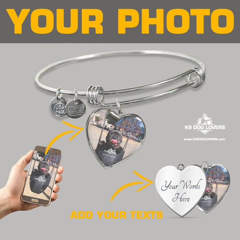 PERSONALIZED HEART - ADJUSTABLE BANGLE (WITH NECKLACE VARIANT) [upload your photo]