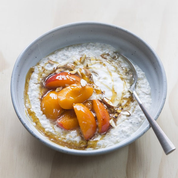 Overnight Gluten-free Oats with Macerated Apricots & Coconut Yoghurt
