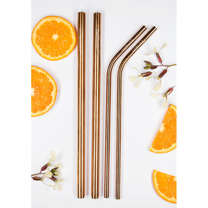 Reusable Straws Mixed 4 Pack Rose Gold