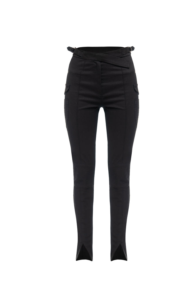 Cotton tapered trousers black