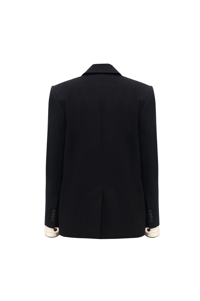 Double breasted straight blazer black