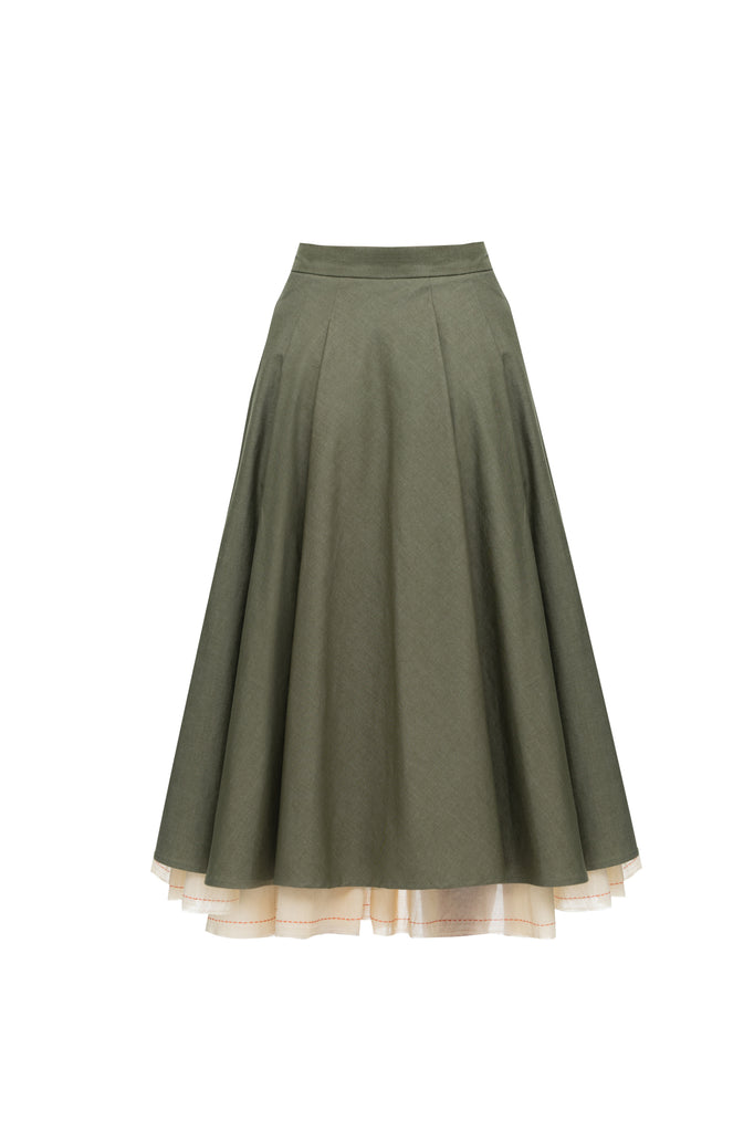 Asymmetric skirt khaki