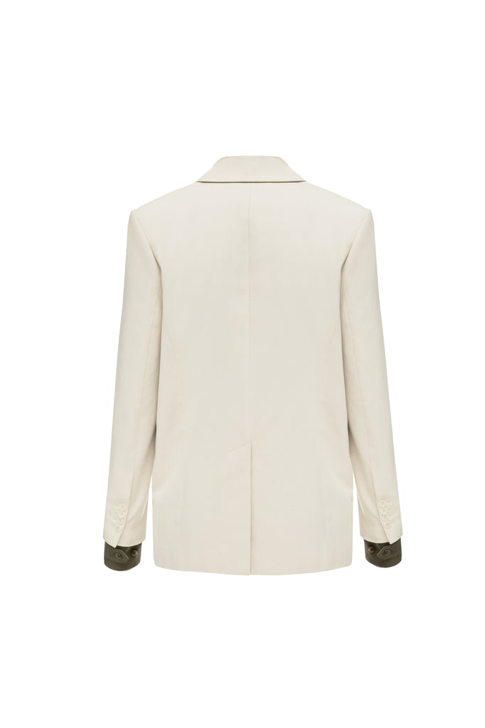Double breasted straight blazer off-white