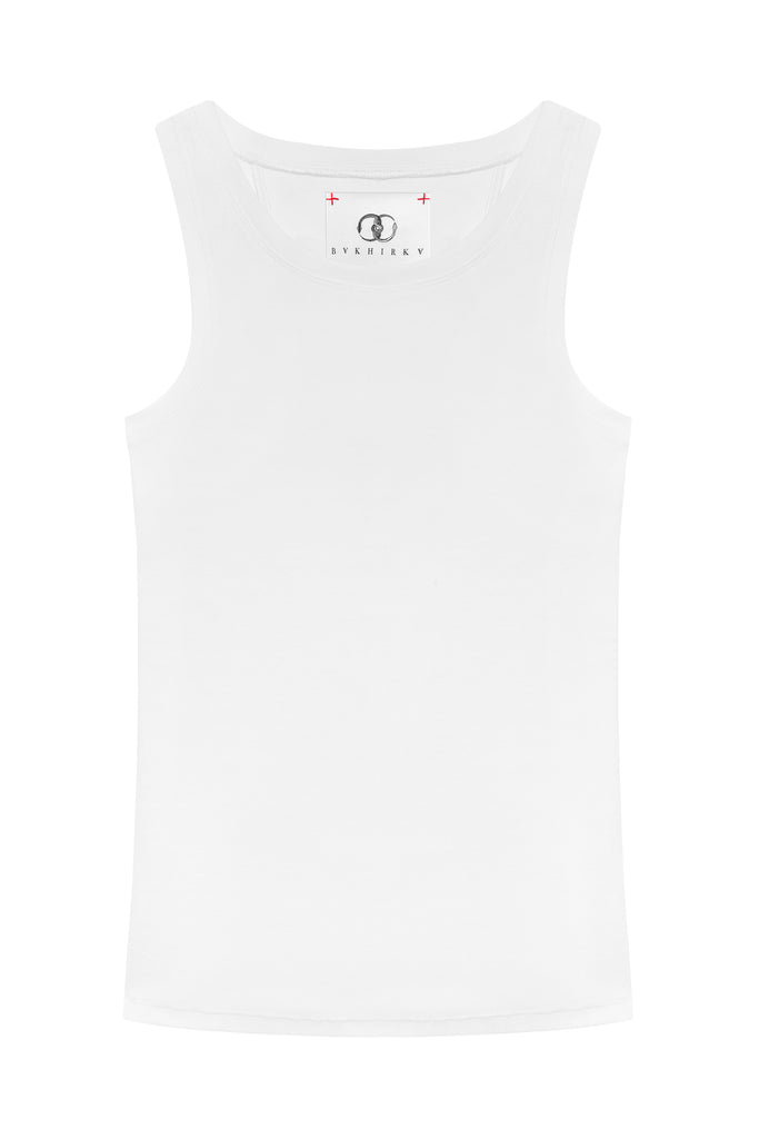 Ribbed Tank Top White with white stitches