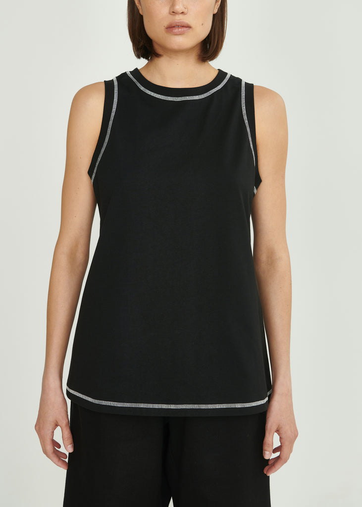 Tank Top Black with white stitches