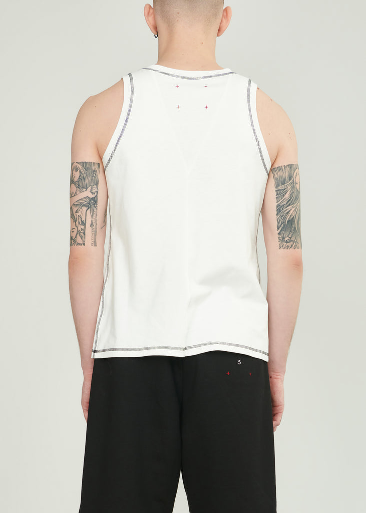 Tank Top White with black stitches