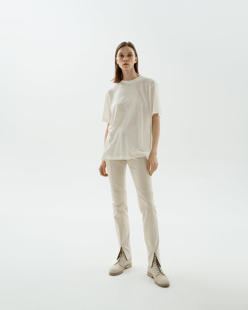 Cotton tapered trousers off-white