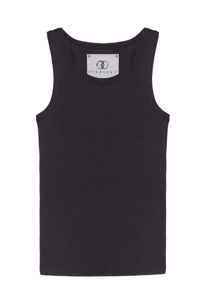 Ribbed Tank Top Black with black stitches