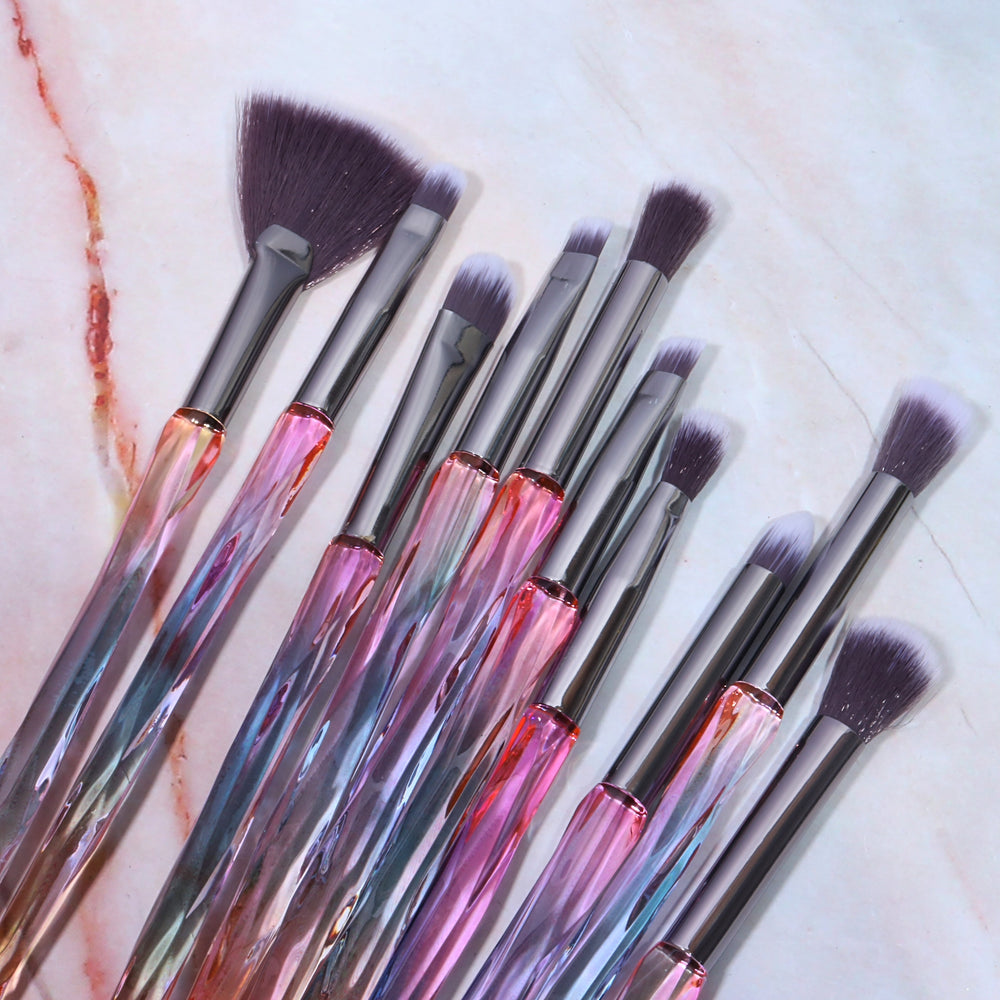 LUXURY PINK CRYSTAL EYE BRUSH SET (10 PCS)