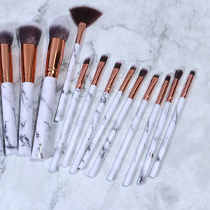 Load image into Gallery viewer, PRO MARBLE MAKEUP BRUSH SET (15 PCS)