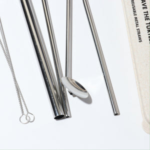 Load image into Gallery viewer, SILVER METAL STRAW 4-PK
