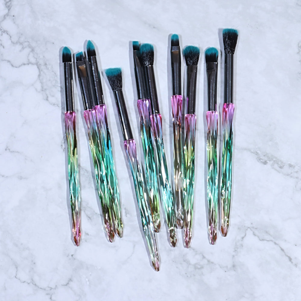 LUXURY EMERALD CRYSTAL BRUSH SET (10 PCS)