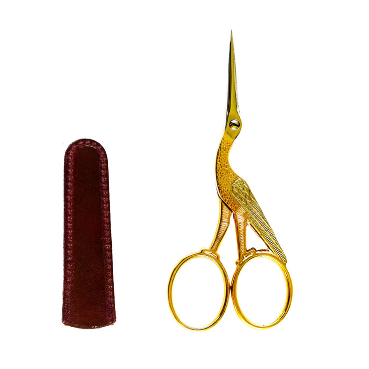 Dovo Stork Embroidery Scissor with Leather Scissor Sheath