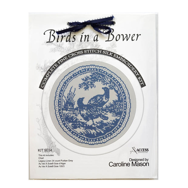 Birds in a Bower Cross Stitch Silk Embroidery Kit - Blue