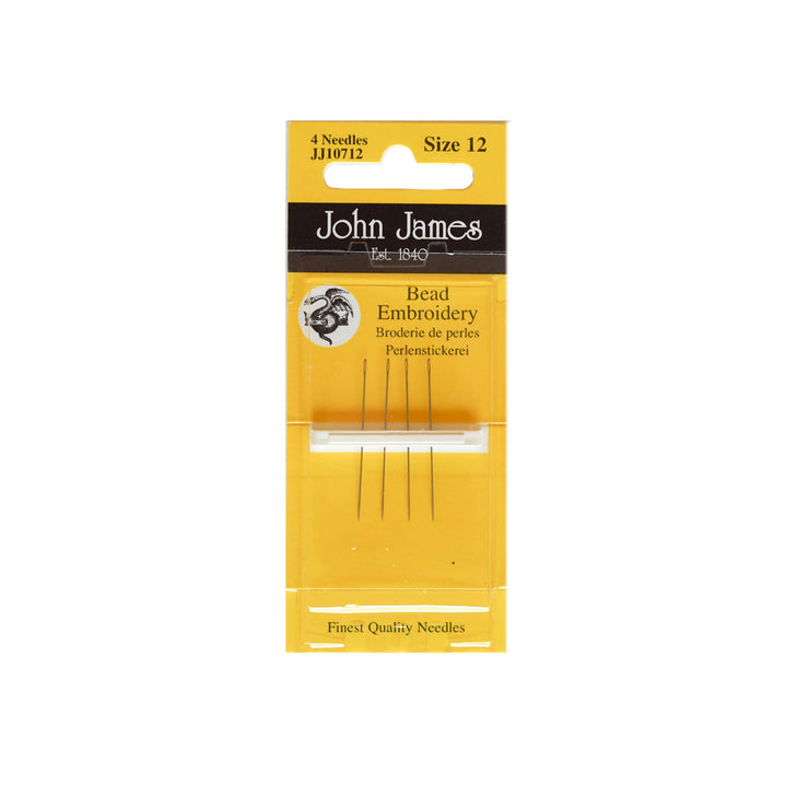 John James Short Beading Needles - Size 12