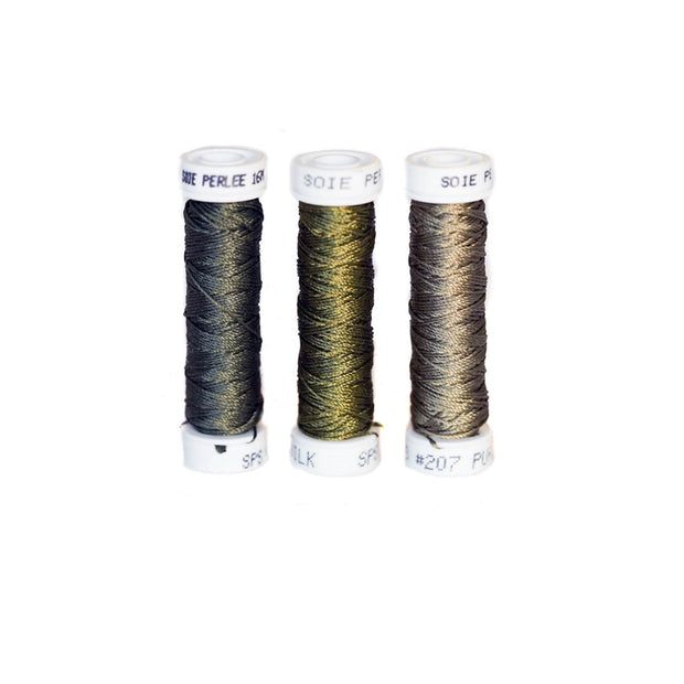 Au Ver à Soie ® Soie Perlee Silk Thread Kit - Army Greens