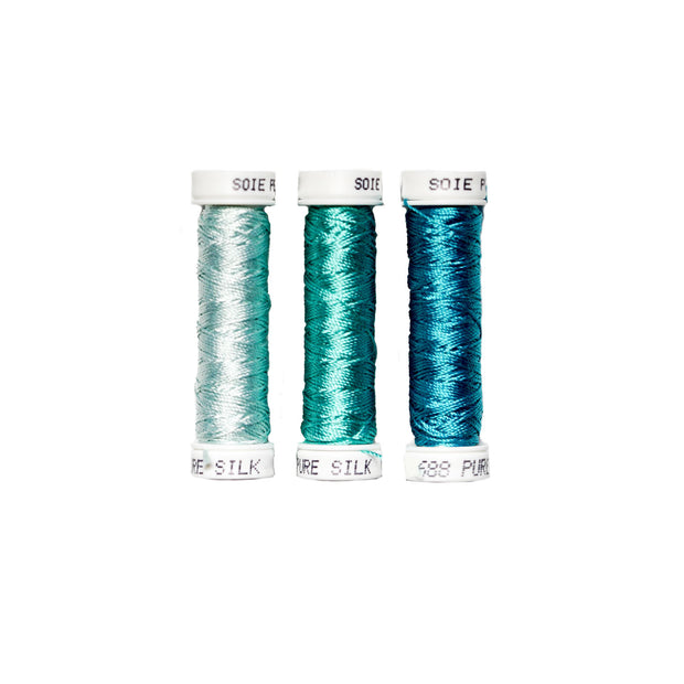 Au Ver à Soie ® Soie Perlee Silk Thread Kit - Cyan