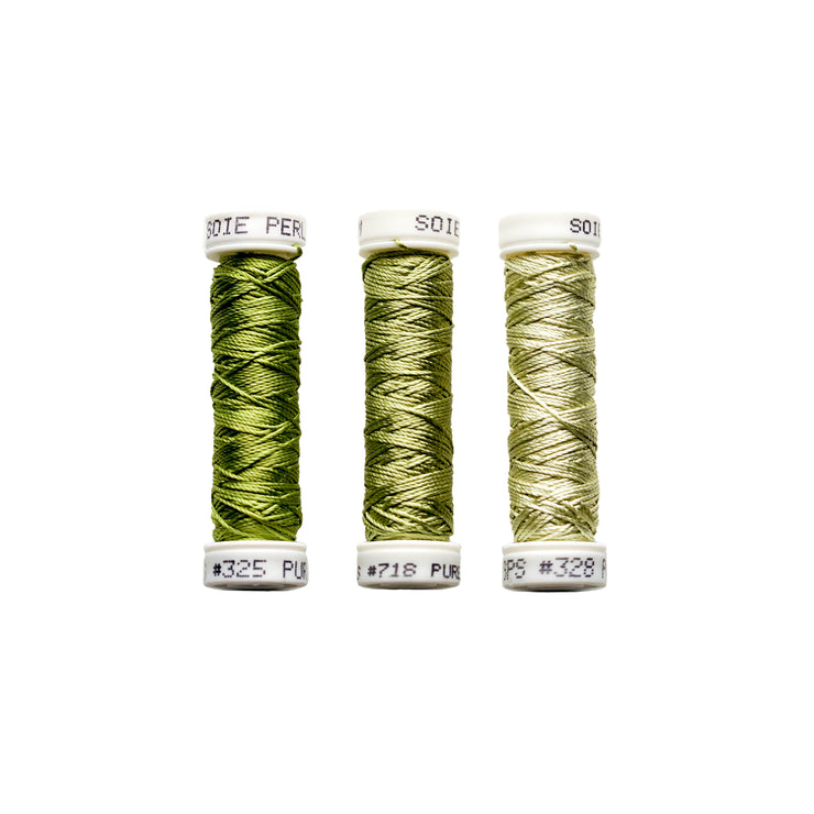 Au Ver à Soie ® Soie Perlee Silk Thread Kit - Green Shoots